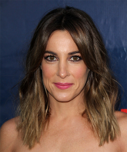 Lindsay Sloane Long Wavy Casual Hairstyle - Dark Brunette (Ash) Hair Color