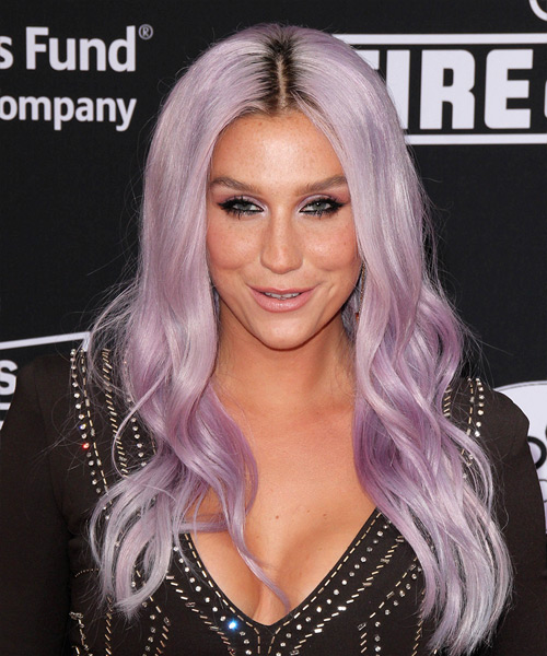 Kesha Long Wavy Hairstyle - Purple