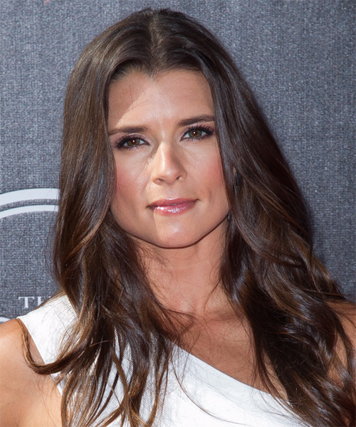 Danica Patrick Long Wavy Hairstyle - Medium Brunette (Mocha)