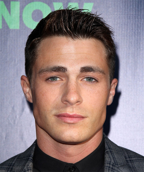 Colton Haynes Short Straight Hairstyle - Medium Brunette (Mocha)