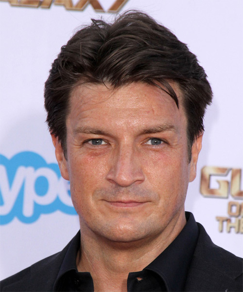 Nathan Fillion Short Straight Casual Hairstyle - Medium Brunette (Chocolate) Hair Color