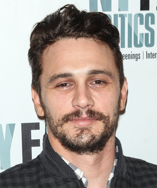 James Franco Short Wavy Hairstyle - Dark Brunette