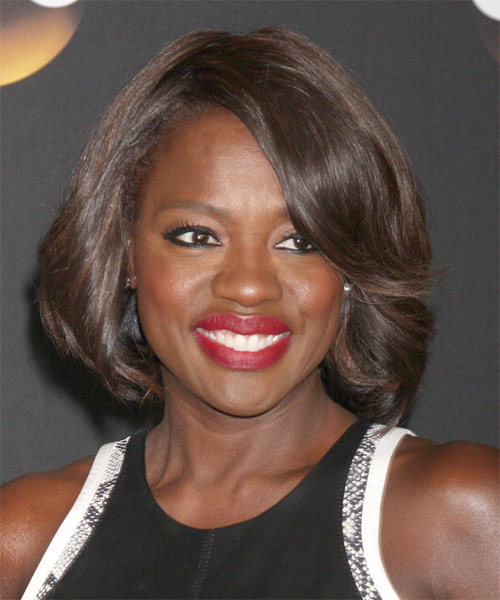 Viola Davis Medium Straight Hairstyle - Medium Brunette (Chocolate)