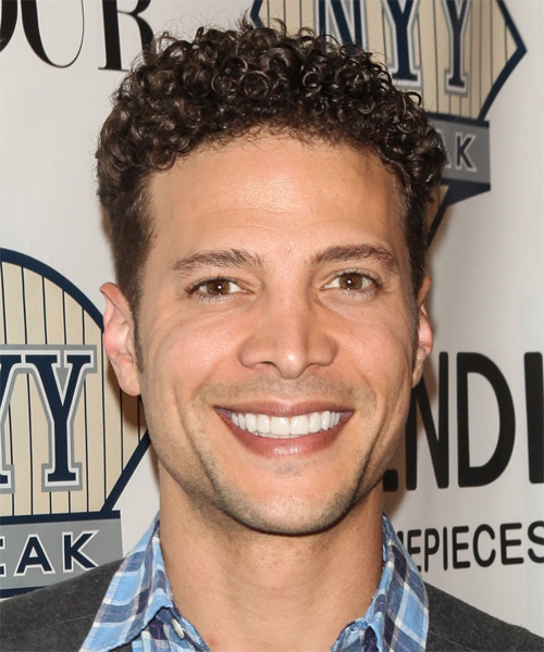 Justin Guarini Short Curly Casual Hairstyle - Medium Brunette Hair Color