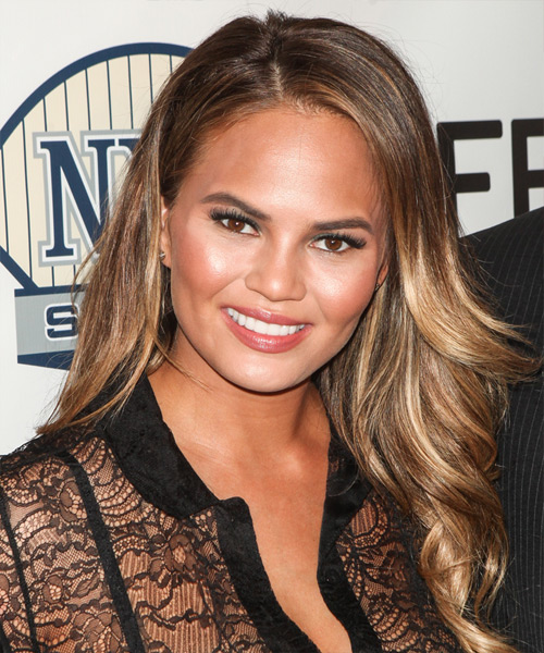 Christine Teigen Long Wavy Formal Hairstyle - Medium Brunette (Chestnut) Hair Color