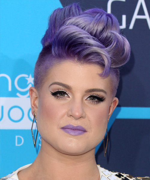 Kelly Osbourne Short Wavy Hairstyle - Purple