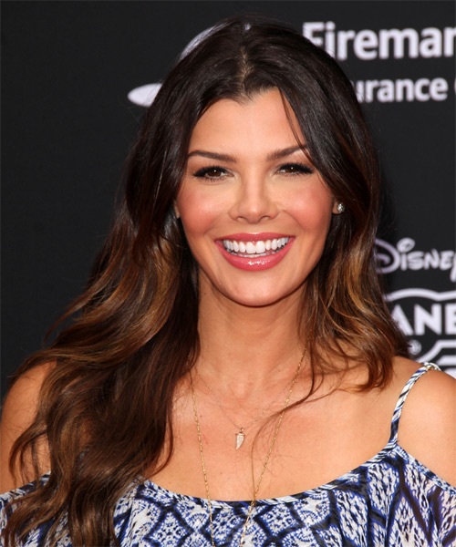 Ali Landry Long Straight Casual Hairstyle - Dark Brunette Hair Color