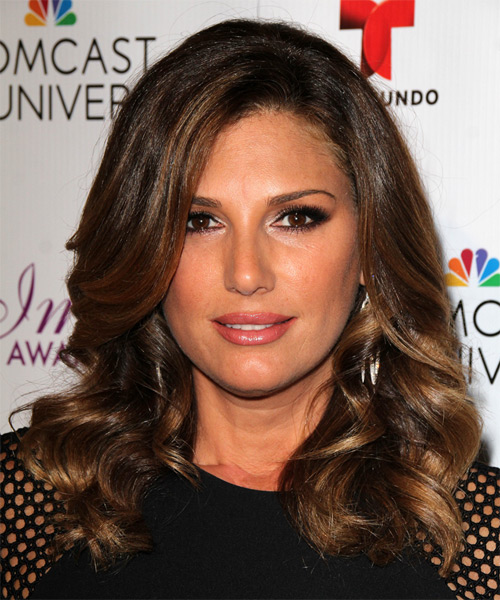 Daisy Fuentes Long Wavy Formal Hairstyle - Dark Brunette (Chocolate) Hair Color