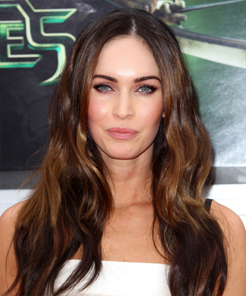 Megan Fox Long Straight Casual Hairstyle - Medium Brunette Hair Color