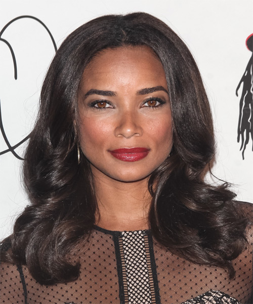 Rochelle Aytes Long Wavy Hairstyle - Dark Brunette (Chocolate)