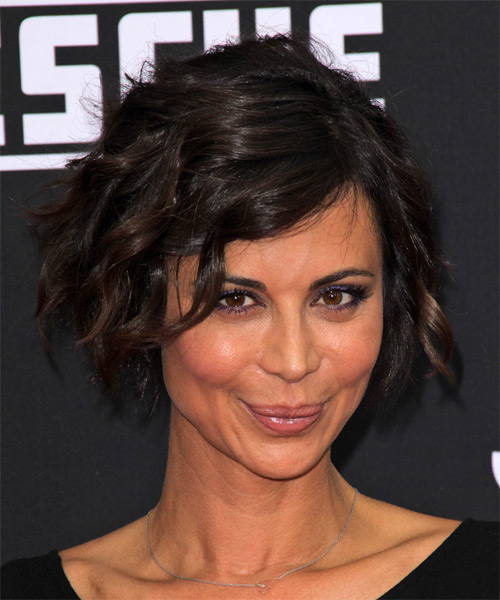 Catherine Bell Short Wavy Hairstyle - Dark Brunette