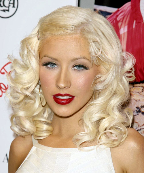 Christina Aguilera Medium Wavy Formal Hairstyle - Light Blonde Hair Color