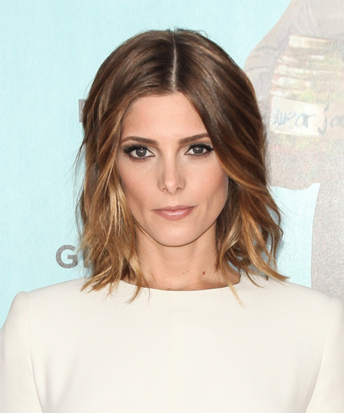 Ashley Greene Medium Wavy Hairstyle - Medium Brunette (Golden)