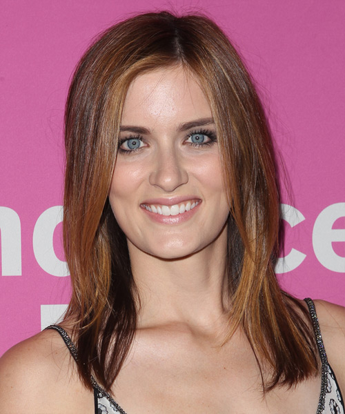 Anna Wood Long Straight Hairstyle - Medium Brunette (Auburn)