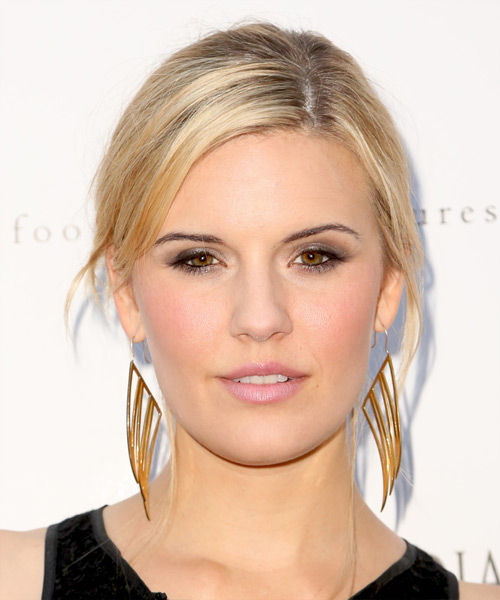 Maggie Grace Casual Straight Updo Hairstyle - Medium Blonde