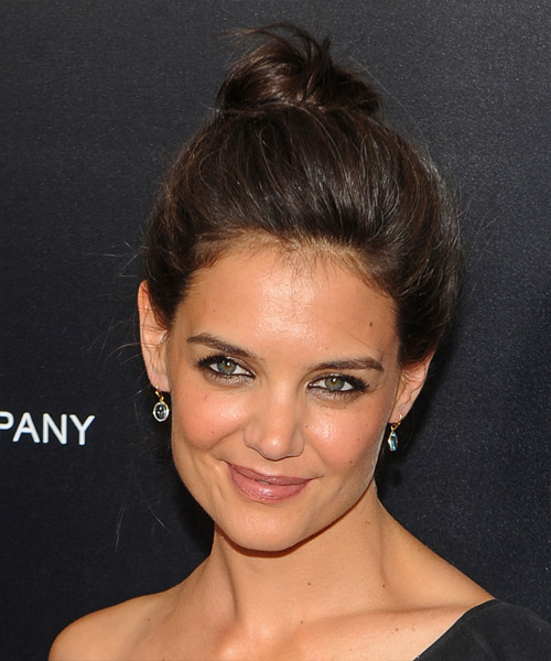 Katie Holmes Straight Casual Updo Hairstyle - Dark Brunette Hair Color