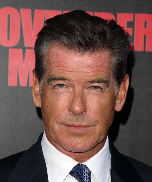 Pierce Brosnan Short Straight Hairstyle - Dark Grey