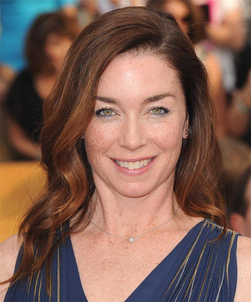 Julianne Nicholson Long Wavy Hairstyle - Medium Brunette (Auburn)