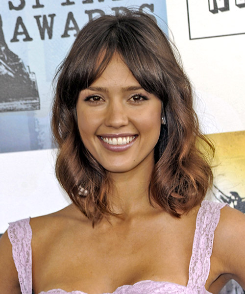 Jessica Alba Long Wavy Casual Hairstyle with Layered Bangs - Medium Brunette (Mahogany) Hair Color