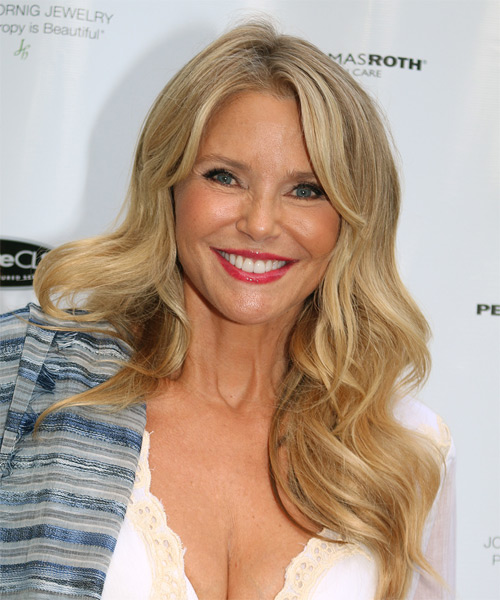 Christie Brinkley Long Wavy Formal Hairstyle - Medium Blonde (Ash) Hair Color