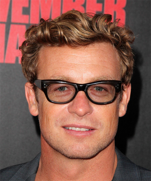 Simon Baker Short Wavy Casual Hairstyle Dark Blonde