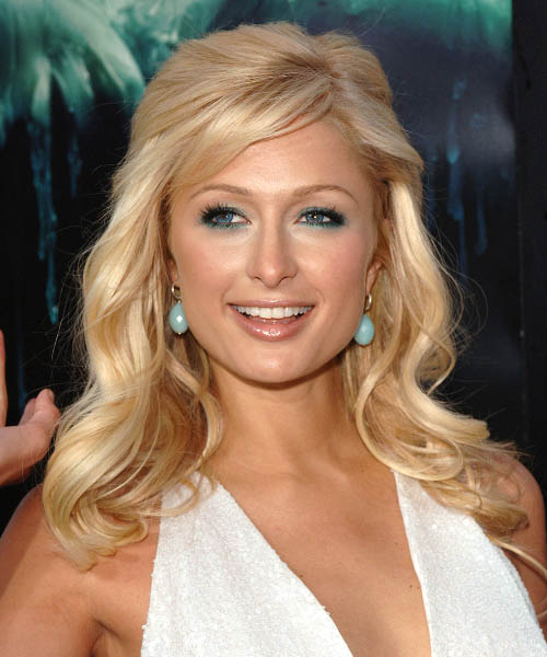 Paris Hilton Curly Formal Half Up Hairstyle with Side Swept Bangs