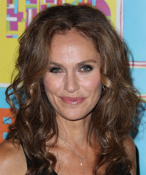 Amy Brenneman Long Curly Casual Hairstyle - Medium Brunette (Chocolate) Hair Color
