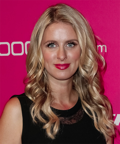 Nicky Hilton Long Wavy Formal Hairstyle - Medium Blonde Hair Color