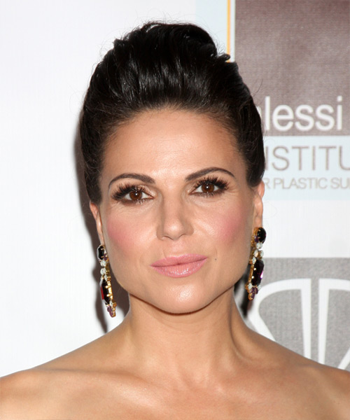 Lana Parrilla Updo Long Straight Formal Wedding - Dark Brunette