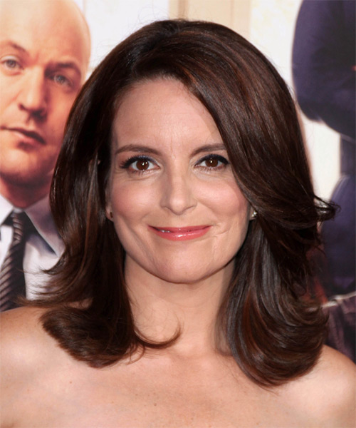 Tina Fey Medium Straight Formal Hairstyle - Dark Brunette (Mocha) Hair Color