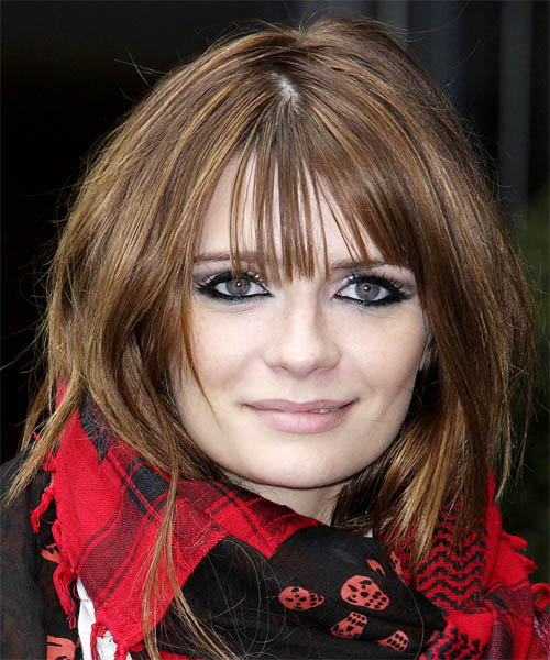 Mischa Barton Long Straight Casual Hairstyle with Blunt Cut Bangs - Medium Brunette (Chocolate) Hair Color