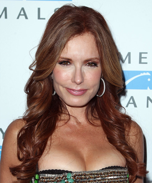 Tracey Bregman Long Wavy Formal Hairstyle - Dark Red Hair Color