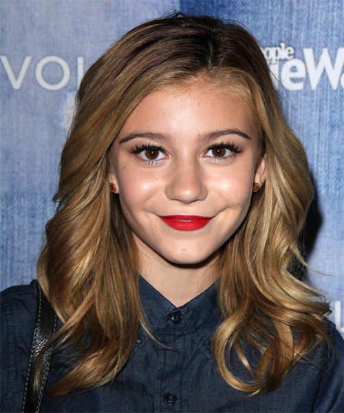 G Hannelius Long Wavy Formal Hairstyle - Light Brunette Hair Color