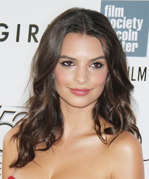 Emily Ratajkowski Long Wavy Casual Hairstyle - Medium Brunette Hair Color