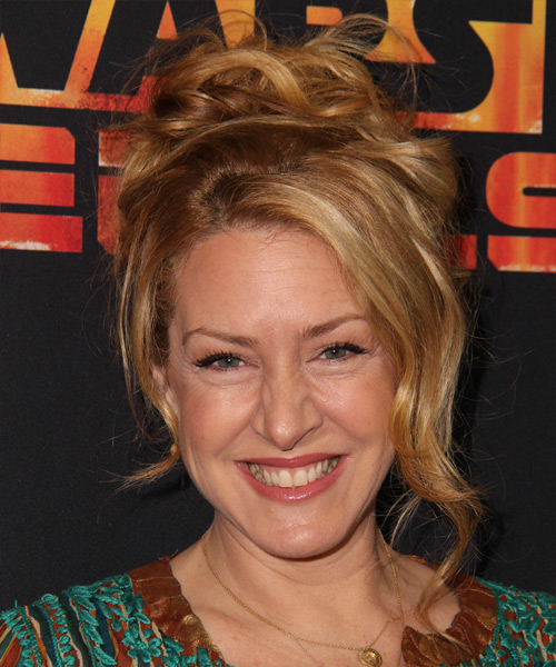 Joely Fisher Updo Long Curly Casual Wedding - Dark Blonde (Copper)