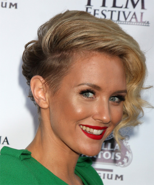 Nicky Whelan Short Wavy Formal  - Medium Blonde - side view