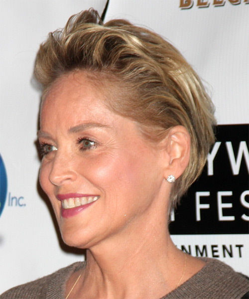 Sharon Stone Short Straight Hairstyle - Dark Blonde - side view