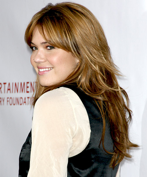 Mandy Moore Long Straight Casual Hairstyle with Layered Bangs - Light Brunette Hair Color - side view