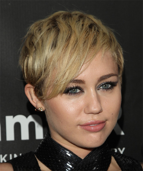 Miley Cyrus Short Straight Casual Hairstyle - Medium Blonde Hair Color - side view