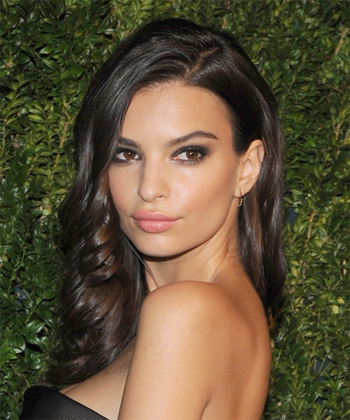 Emily Ratajkowski Long Wavy Formal  - Medium Brunette - side view