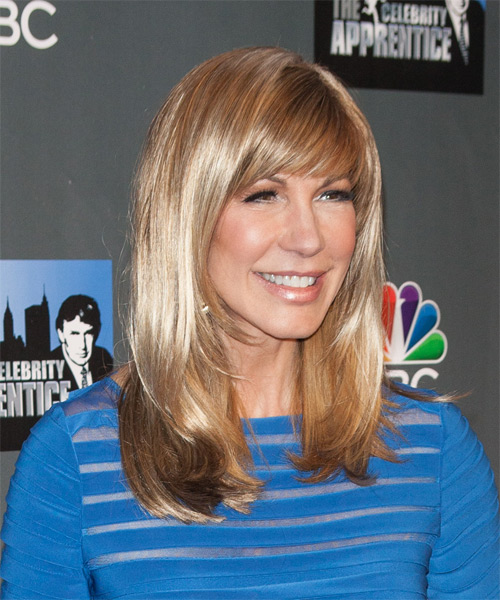 Leeza Gibbons Long Straight Formal  with Side Swept Bangs - Medium Blonde (Strawberry) - side view