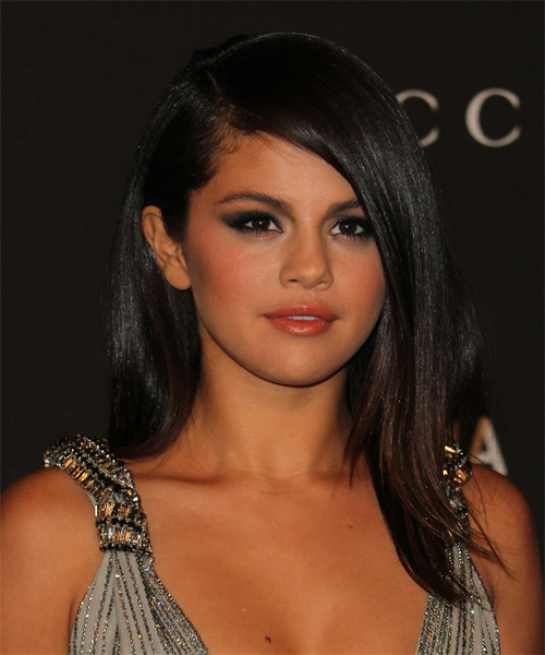 Selena Gomez Long Straight Formal Hairstyle - Black Hair Color - side view