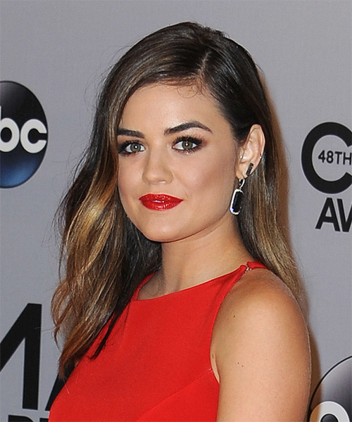 Lucy Hale Long Straight Casual Hairstyle - Dark Brunette Hair Color - side view