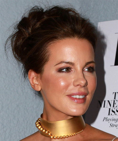 Kate Beckinsale Long Wavy Formal Updo Hairstyle - Dark Brunette Hair Color - side view