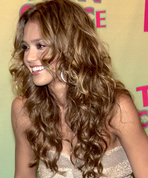 Enjoyable Jessica Alba Long Curly Casual Hairstyle Thehairstyler Com Hairstyles For Men Maxibearus