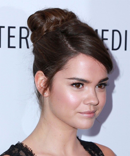 Maia Mitchell Long Wavy Formal Updo Hairstyle - Medium Brunette (Chocolate) Hair Color - side view