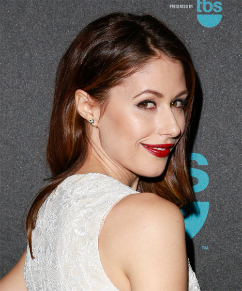 Amanda Crew Long Straight Formal  - Medium Brunette - side view