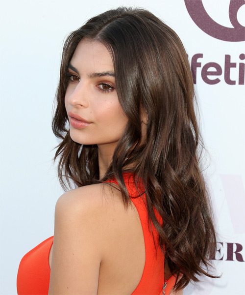 Emily Ratajkowski Long Wavy Casual Hairstyle - Dark Brunette Hair Color - side view