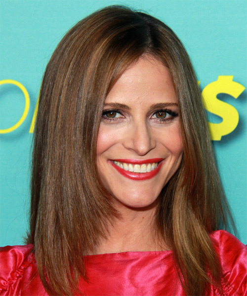 Andrea Savage Long Straight Hairstyle with Streaky Highlights.