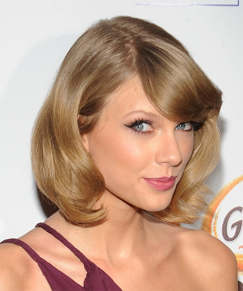 Taylor Swift Medium Straight Formal Hairstyle with Side Swept Bangs - Dark Blonde Hair Color - side view